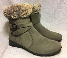 VAN DAL grey nubuck suede faux fur lined wedge heel ankle boots UK 4 worn once
