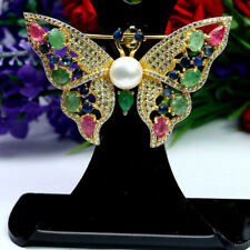 NATURAL WHITE PEARL RUBY SAPPHIRE EMERALD & CZ BUTUERFLY BROOCH 925 SILVER