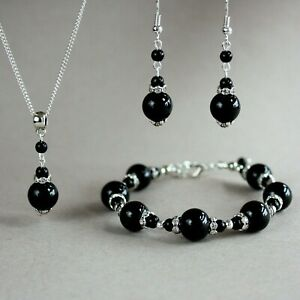Black pearls silver necklace bracelet earrings wedding bridal jewelry set