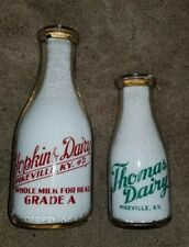 Two Pikeville, KY Kentucky Pyro Milk Bottles - Hopkins and Thomas Dairies