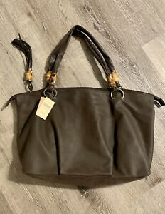 Coldwater Creek XL Bamboo Brown Carry Tote Bag With Tassel New With Tags