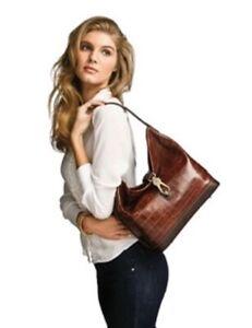 Dooney & Bourke Brown Croco Embossed Leather Shoulder Hobo Bag Purse Handbag