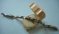 Signed Vintage Taxco Mexico Sterling Silver Abalone Link Bracelet   RE2818A
