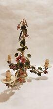 Lustre vintage tole peinte végétal fleuri/3 lampes-vintage toleware chandelier