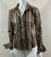 New York And Company Long Sleeve Folded Cuffs Career Blouse Shirt Womens Size XS