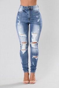 Ladies Womens Girls High Waisted Distressed NOVA Slim Skinny Jeans Jegging 6-22