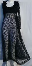 Vintage 60s Sheer Black Lace Empire Line Ruffle Maxi Dress Gothic Size 12