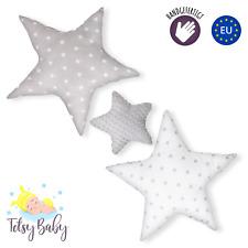 Set 3x Stern Kissen Sterne Kopfkissen für Kinder Baumwolle Minky Grau handmade
