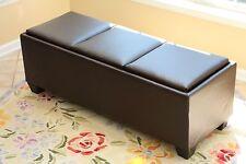 Home Life Split 3-Tray Top Leather Storage Coffee Espresso Ottoman - 1312