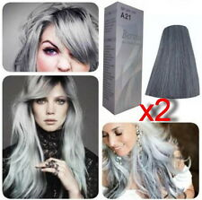 2 X Berina A21 Silver Light Grey Silver Permanent Hair Dye Colour Cream Styling