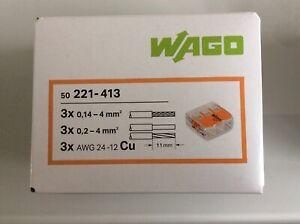 Wago 3 Way Connectors 221-413 Box Of 50