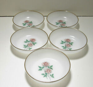 "Fire King Anniversary Rose 6 5/8"" Soup Plates"