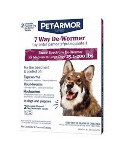 PetArmor 7 Way De-Wormer Dogs 25.1-200 lbs 2 Flavored Chewables 🐕🐕 🐶🐶