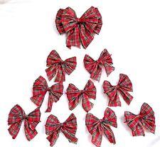 10 tartan rosso con Oro Bordo cablati, fiocchi Albero Natale, fiocchi regalo