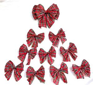 10  Red Tartan with gold wired edge , xmas Tree Bows,Gift bows