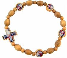 Wood Bead Pope John Paul II 6-inch Stretch Rosary Bracelet