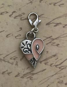 Brighton Breast Cancer Survivor Pink Ribbon Heart Silver Custom ABC Charm