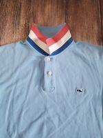 vineyard vines Men's S/S Pique Mesh Whale Polo Shirt Blue Size Medium