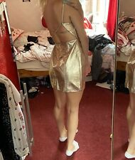 Topshop Gold Mini Dress With Back Detailing, Size 8 RRP £55