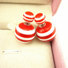 Candy 9 Color Double Sided Stripe Round Ball Beads Ear Plug Stud Earrings