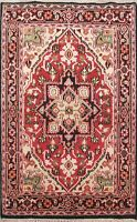 Traditional Indo Heriz Oriental Area Rug Hand-Knotted Geometric Carpet WOOL 4x6