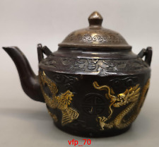 China old antique Pure copper Gold plating Loong Phoenix pattern Teapot