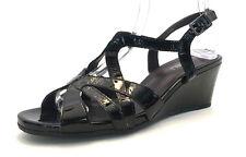 VE-10 VAN ELi Women's Black Patent Leather Wedge Sandals, Size 10M US