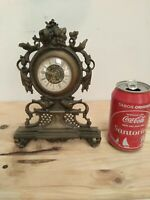 Antique Mechanical French Table Clock in brass with Roman dial *needs repair*