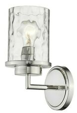 1 Light Polished Nickel Sconce With Water Glass Light Hallway Bathroom Wall Fix