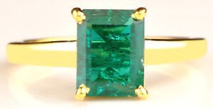 14KT Yellow Gold Rectangle Shape 1.40Ct Natural Green Emerald Anniversary Ring