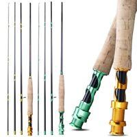 Fly Fishing Rod Portable 4 Section 2.7M Soft Cork Handle Carbon Fiber Fish Pole