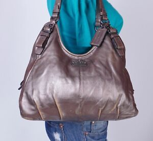 COACH MAGGIE Large Gold Leather Shoulder Hobo Tote Satchel Purse Bag