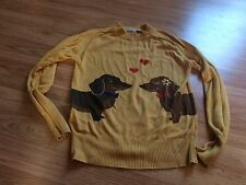 Modcloth Weiner Takes It All Dachshund dog Sweater medium m yellow bea & dot