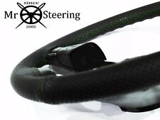 PERFORATED LEATHER STEERING WHEEL COVER FOR NISSAN SKYLINE R34 GREEN DOUBLE STCH