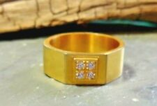 GOLD TONE STAINLESS STEEL FOUR CUBIC ZIRCONIA STONES BAND RING SIZE 9