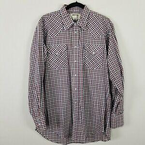 Vintage Ruddock Cowboy long sleeved Western plaid shirt size 16.5 34