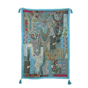 Indian Beaded Wall Hanging Patchwork Hand Embroidered Wall Decor Dorm Tapestry