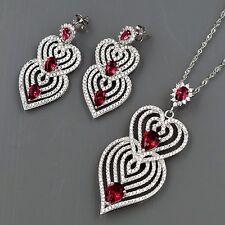 925 Sterling Silver Zirconia CZ Pendant Necklace Dangle Earrings Jewelry Set 971