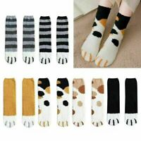 2Pcs Winter Cat Claw Thick Warm Sleep Floor Socks Women Coral Fleece Socks AU LY