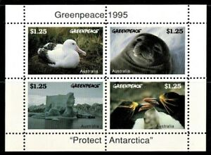 Australia 1995 Greenpeace - 'Protect Antarctica' Sheetlet MNH - Seal, Penguin