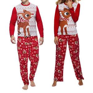 Femme Homme Pyjama de Nuit Noël Wapiti Coton Nuisette Ensemble Top+Pantalon FR
