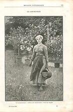 Les lauriers-Roses Tableau de Édouard Debat-Ponsan GRAVURE ANTIQUE PRINT 1894