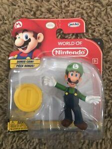 NEW World of Nintendo LUIGI FIGURE +++ BONUS COIN+++ SUPER MARIO Jakks Pacific