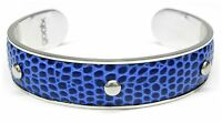 NEU Edelstahl GOOIX ARMREIF in ECHT LEDER in sky blue/blau ARMSPANGE Armband