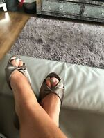 Women's grey shoes By Dorothy Perkins Ladies silky wedge heels size 4
