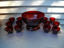 ANCHOR HOCKING RUBY RED PUNCH BOWL SET WITH BASE & 12 CUPS & BOX