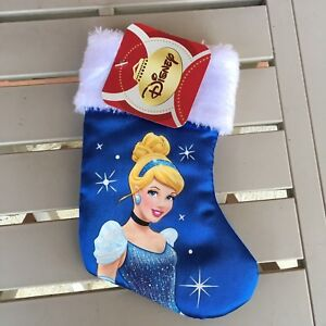 Disney Princess Cinderella Mini Satin Christmas Stocking Blue White Hangtag