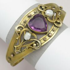Antique Victorian Edwardian Amethyst Paste HEART Pearl Gold Gilt Bracelet