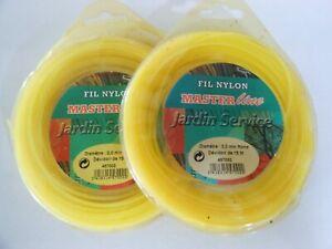fil nylon 2.0mm rond, 2 x 15m