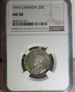 CANADA Canadian 1916 25C NGC AU50 AU 50 Twenty-Five Cent Graded Certified Coin